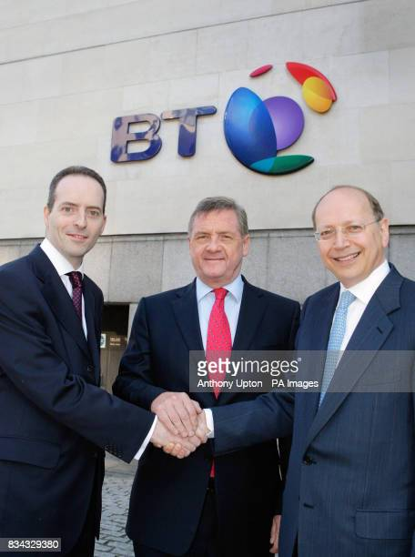 Ian Livingston Sir Mike Rake and Ben Verwaayen stand outside the BT Centre in London after it was announced today that chief executive Ben Verwaayen...