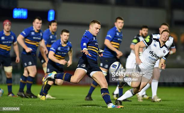 Ian Madigan of Leinster kicks for touch during the European Champions cup Pool 5 rugby game against Bath at the RDS arena on January 16 2016 in...
