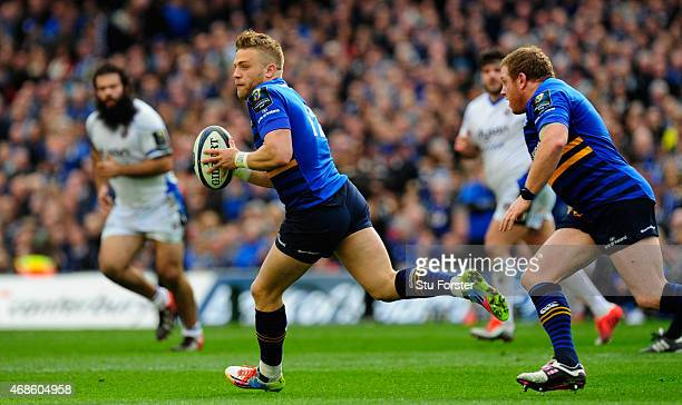 Ian Madigan of Leinster starts an attack during the European Rugby Champions Cup Quarter Final match between Leinster Rugby and Bath Rugby at Aviva...