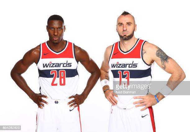 Ian Mahinmi and Marcin Gortat of the Washington Wizards pose for a portrait during Media Day on September 25 2017 at Capital One Center in Washington...