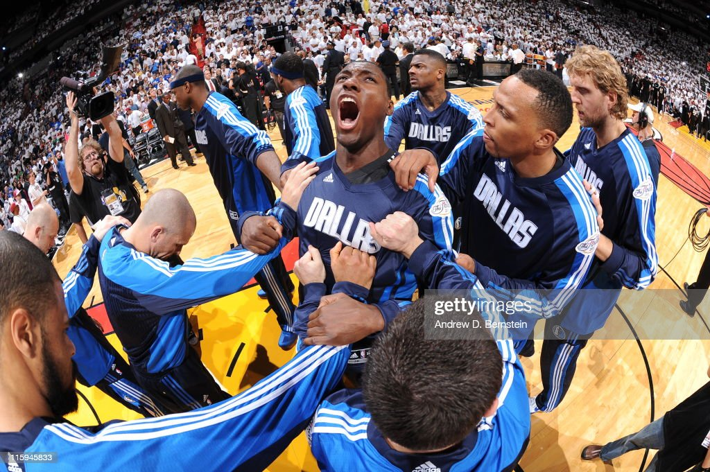 <a gi-track='captionPersonalityLinkClicked' href=/galleries/search?phrase=Ian+Mahinmi&family=editorial&specificpeople=740196 ng-click='$event.stopPropagation()'>Ian Mahinmi</a> #28 of the Dallas Mavericks fires up his teammates prior to Game Six of the 2011 NBA Finals against the Miami Heat on June 12, 2011 at the American Airlines Arena in Miami, Florida.