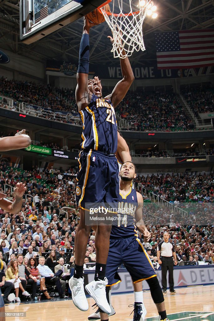 Ian Mahinmi #28 of the Indiana Pacers dunks against the Utah Jazz at Energy Solutions Arena on January 26, 2013 in Salt Lake City, Utah.