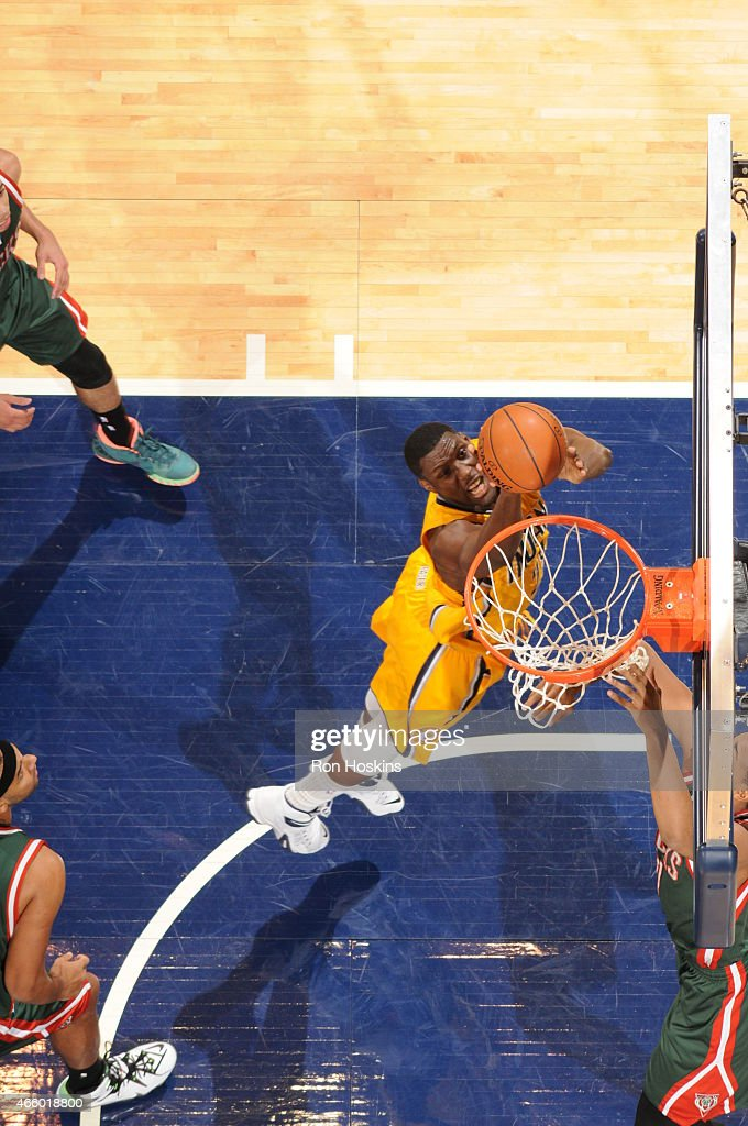 Ian Mahinmi #28 of the Indiana Pacers goes to the basket against the Milwaukee Bucks on March 12, 2015 at Bankers Life Fieldhouse in Indianapolis, Indiana.