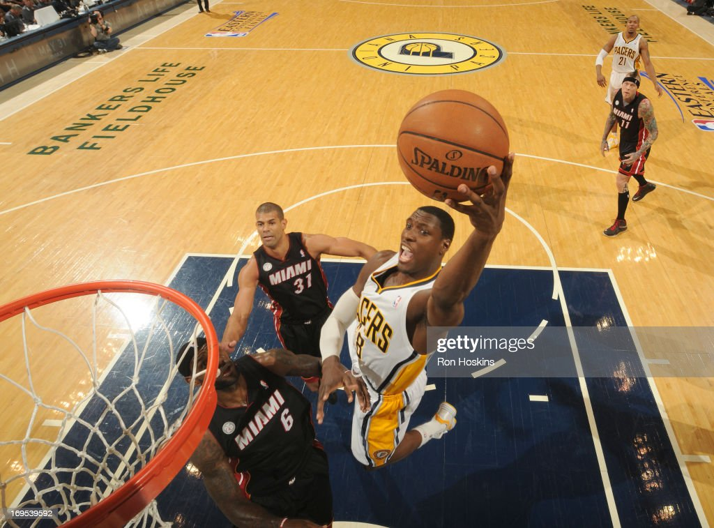 <a gi-track='captionPersonalityLinkClicked' href=/galleries/search?phrase=Ian+Mahinmi&family=editorial&specificpeople=740196 ng-click='$event.stopPropagation()'>Ian Mahinmi</a> #28 of the Indiana Pacers goes to the basket during Game Three of the Eastern Conference Finals between the Miami Heat and the Indiana Pacers during the 2013 NBA Playoffs on May 26, 2013 at Bankers Life Fieldhouse in Indianapolis, Indiana.