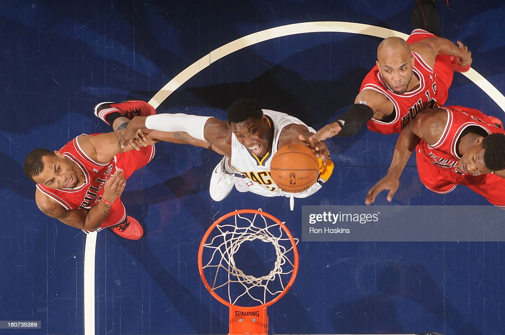 Ian Mahinmi #28 of the Indiana Pacers goes to the basket during the game between the Indiana Pacers and the Chicago Bulls on February 4, 2013 at Bankers Life Fieldhouse in Indianapolis, Indiana.
