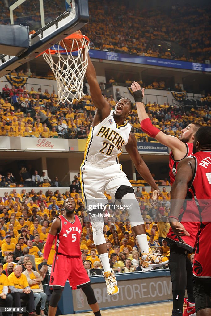 <a gi-track='captionPersonalityLinkClicked' href=/galleries/search?phrase=Ian+Mahinmi&family=editorial&specificpeople=740196 ng-click='$event.stopPropagation()'>Ian Mahinmi</a> #28 of the Indiana Pacers goes up for a dunk against the Toronto Raptors in Game Six of the Eastern Conference Quarterfinals during the 2016 NBA Playoffs on April 29, 2016 at Bankers Life Fieldhouse in Indianapolis, Indiana.