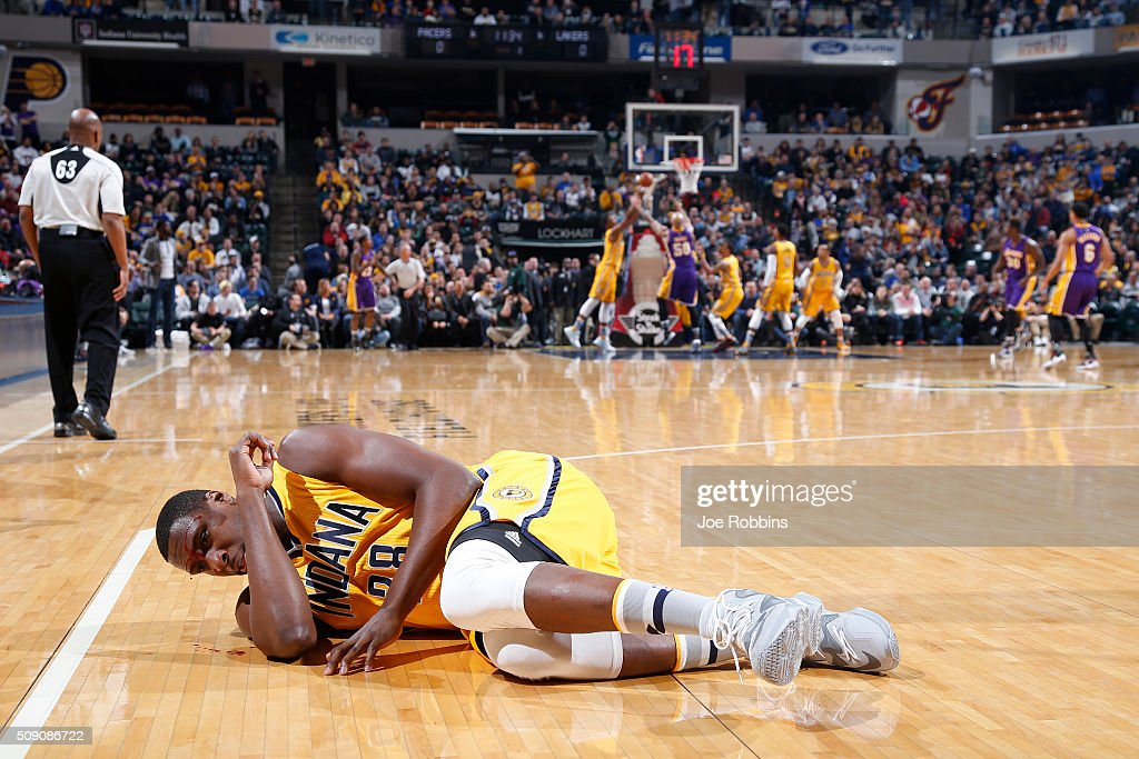 <a gi-track='captionPersonalityLinkClicked' href=/galleries/search?phrase=Ian+Mahinmi&family=editorial&specificpeople=740196 ng-click='$event.stopPropagation()'>Ian Mahinmi</a> #28 of the Indiana Pacers lies bleeding on the floor after being hit in the forehead in the first half of the game against the Los Angeles Lakers at Bankers Life Fieldhouse on February 8, 2016 in Indianapolis, Indiana.