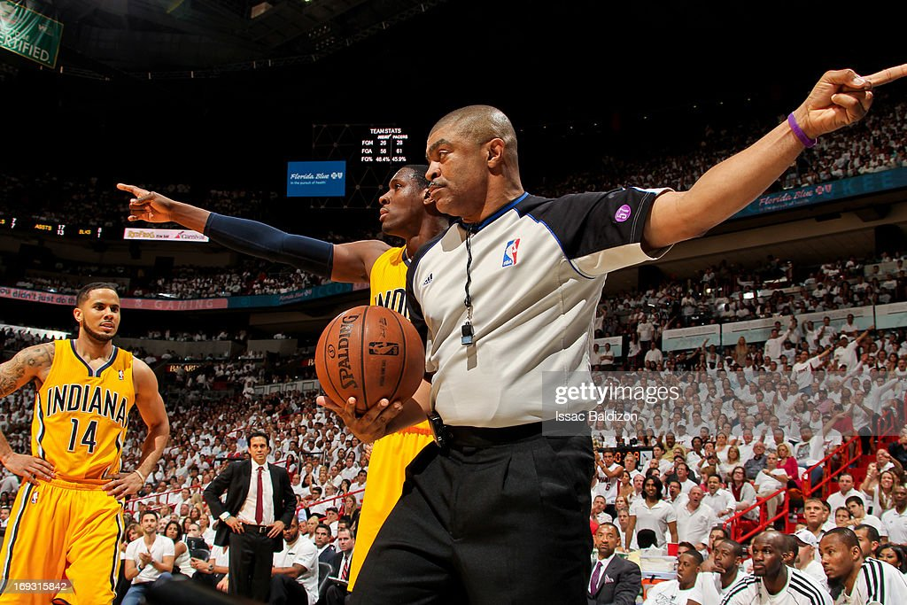 Ian Mahinmi #28 of the Indiana Pacers reacts to a call by referee Tony Brothers #25 while playing the Miami Heat in Game One of the Eastern Conference Finals during the 2013 NBA Playoffs on May 22, 2013 at American Airlines Arena in Miami, Florida.