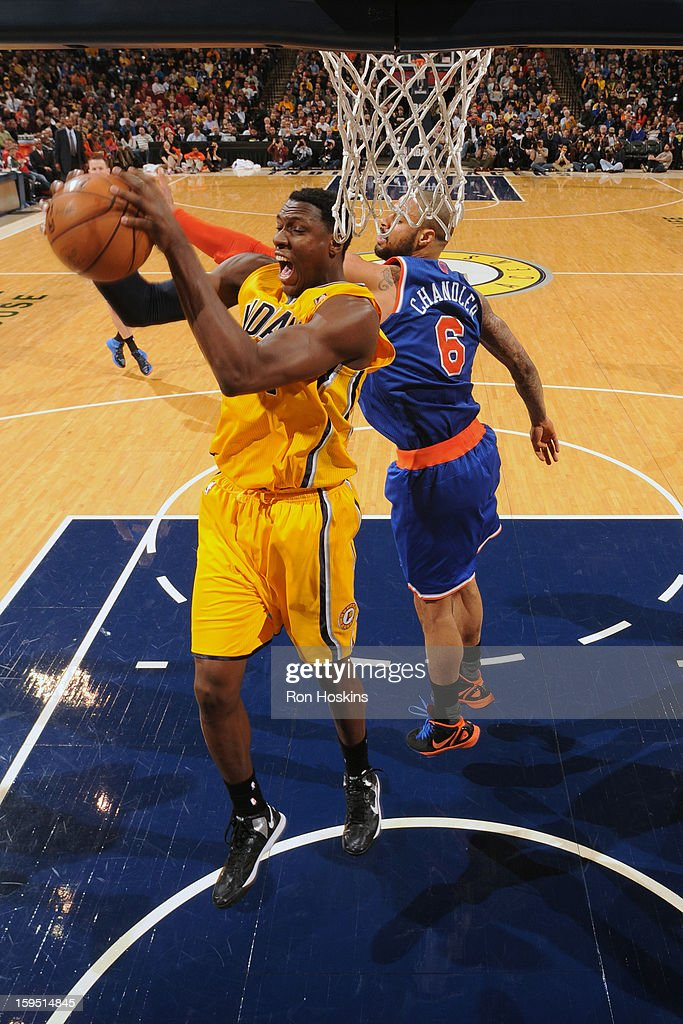 <a gi-track='captionPersonalityLinkClicked' href=/galleries/search?phrase=Ian+Mahinmi&family=editorial&specificpeople=740196 ng-click='$event.stopPropagation()'>Ian Mahinmi</a> #28 of the Indiana Pacers rebounds against <a gi-track='captionPersonalityLinkClicked' href=/galleries/search?phrase=Tyson+Chandler&family=editorial&specificpeople=202061 ng-click='$event.stopPropagation()'>Tyson Chandler</a> #6 of the New York Knicks on January 10, 2013 at Bankers Life Fieldhouse in Indianapolis, Indiana.