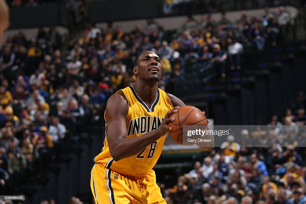 <a gi-track='captionPersonalityLinkClicked' href=/galleries/search?phrase=Ian+Mahinmi&family=editorial&specificpeople=740196 ng-click='$event.stopPropagation()'>Ian Mahinmi</a> #28 of the Indiana Pacers shoots a free throw against the Los Angeles Lakers on February 8, 2016 at Bankers Life Fieldhouse in Indianapolis, Indiana.