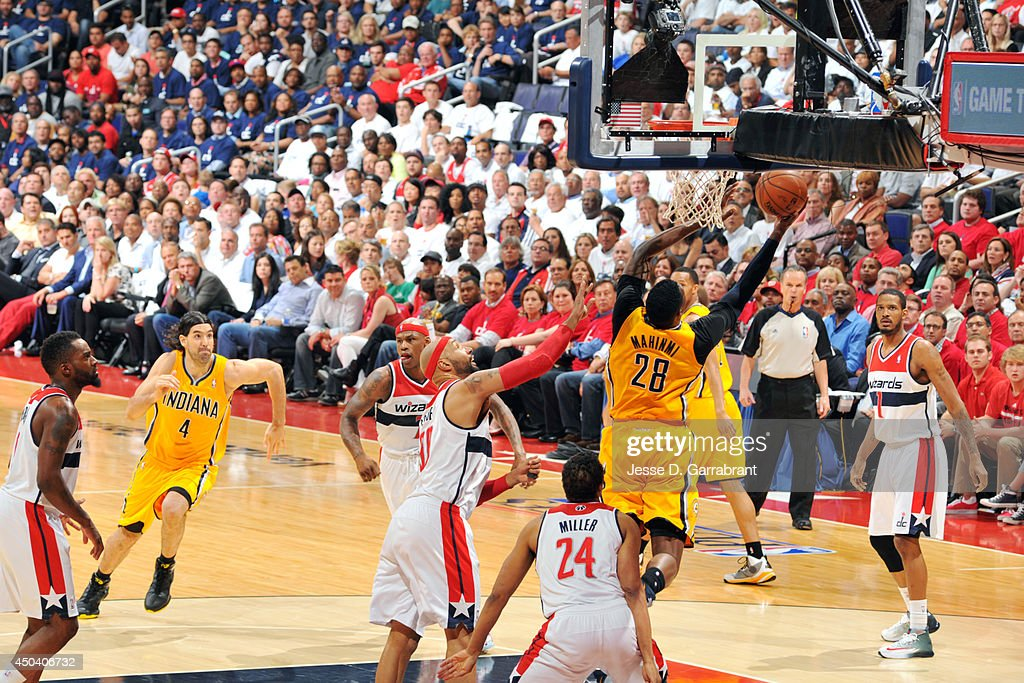 <a gi-track='captionPersonalityLinkClicked' href=/galleries/search?phrase=Ian+Mahinmi&family=editorial&specificpeople=740196 ng-click='$event.stopPropagation()'>Ian Mahinmi</a> #28 of the Indiana Pacers shoots against <a gi-track='captionPersonalityLinkClicked' href=/galleries/search?phrase=Drew+Gooden&family=editorial&specificpeople=201750 ng-click='$event.stopPropagation()'>Drew Gooden</a> #90 of the Washington Wizards in Game Six of the Eastern Conference Semifinals on May 15, 2014 at the Verizon Center in Washington, D.C.