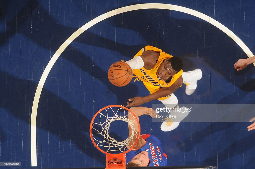 <a gi-track='captionPersonalityLinkClicked' href=/galleries/search?phrase=Ian+Mahinmi&family=editorial&specificpeople=740196 ng-click='$event.stopPropagation()'>Ian Mahinmi</a> #28 of the Indiana Pacers shoots against the Detroit Pistons at Bankers Life Fieldhouse on April 2, 2014 in Indianapolis, Indiana.