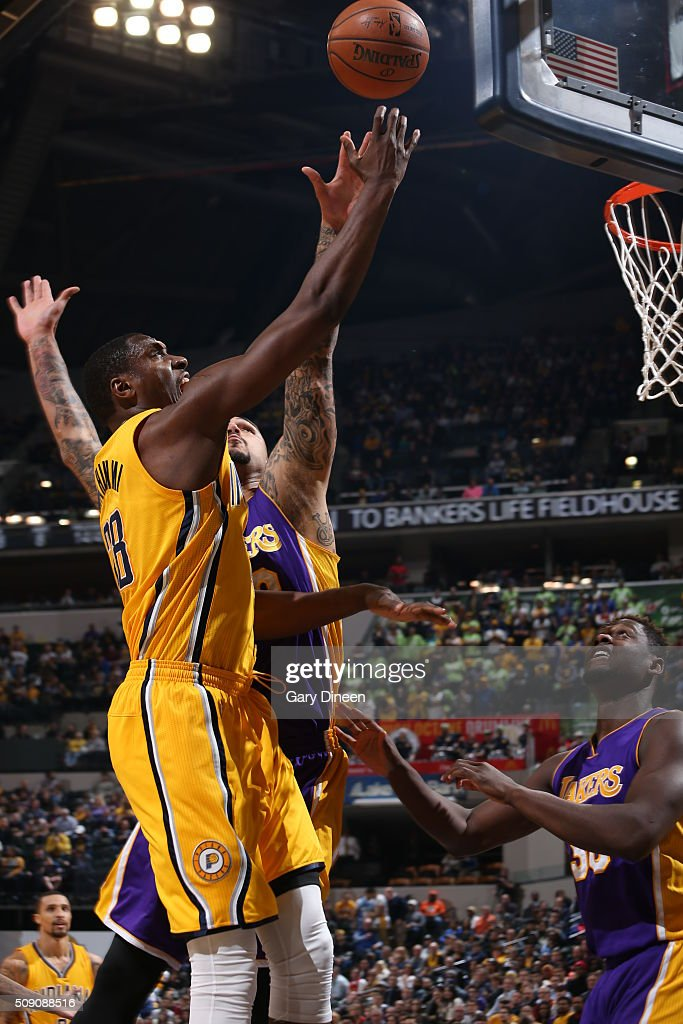 <a gi-track='captionPersonalityLinkClicked' href=/galleries/search?phrase=Ian+Mahinmi&family=editorial&specificpeople=740196 ng-click='$event.stopPropagation()'>Ian Mahinmi</a> #28 of the Indiana Pacers shoots the ball against the Los Angeles Lakers on February 8, 2016 at Bankers Life Fieldhouse in Indianapolis, Indiana.