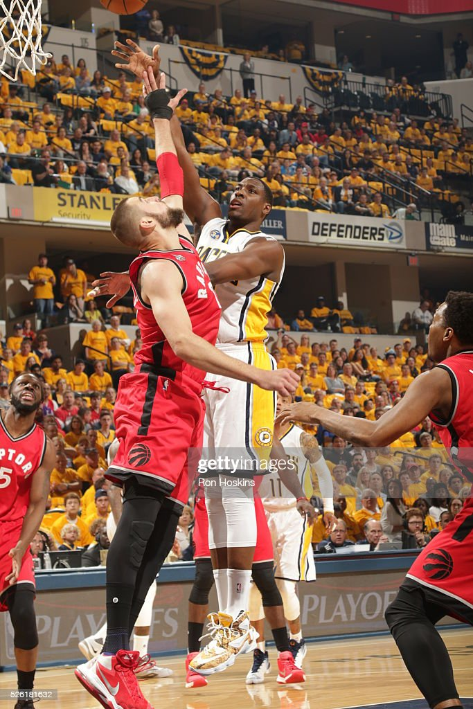 <a gi-track='captionPersonalityLinkClicked' href=/galleries/search?phrase=Ian+Mahinmi&family=editorial&specificpeople=740196 ng-click='$event.stopPropagation()'>Ian Mahinmi</a> #28 of the Indiana Pacers shoots the ball against the Toronto Raptors in Game Six of the Eastern Conference Quarterfinals during the 2016 NBA Playoffs on April 29, 2016 at Bankers Life Fieldhouse in Indianapolis, Indiana.