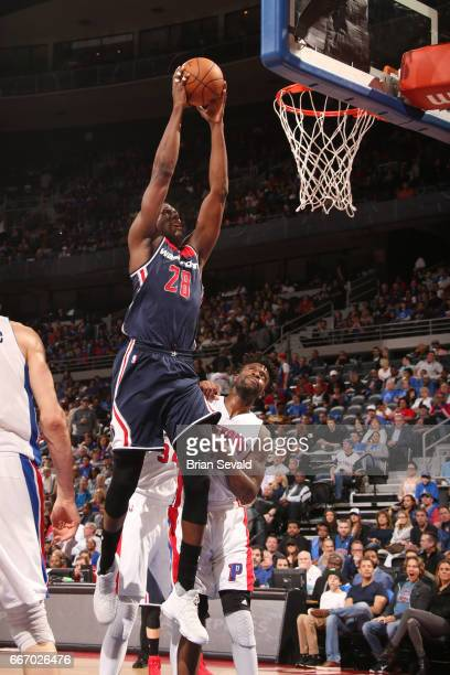 Ian Mahinmi of the Washington Wizards dunks against the Detroit Pistons on April 10 2017 at The Palace of Auburn Hills in Auburn Hills Michigan NOTE...