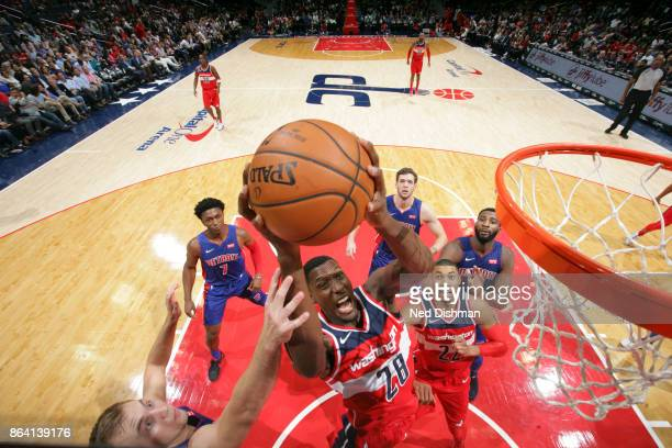 Ian Mahinmi of the Washington Wizards shoots the ball during game against the Detroit Pistons on October 20 2017 at Capital One Arena in Washington...