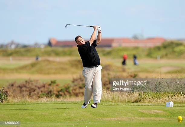 Ian Marshall of Pontefract and District Golf Club tees off on the ninth hole during the Virgin Atlantic PGA National ProAm Championship Regional at...