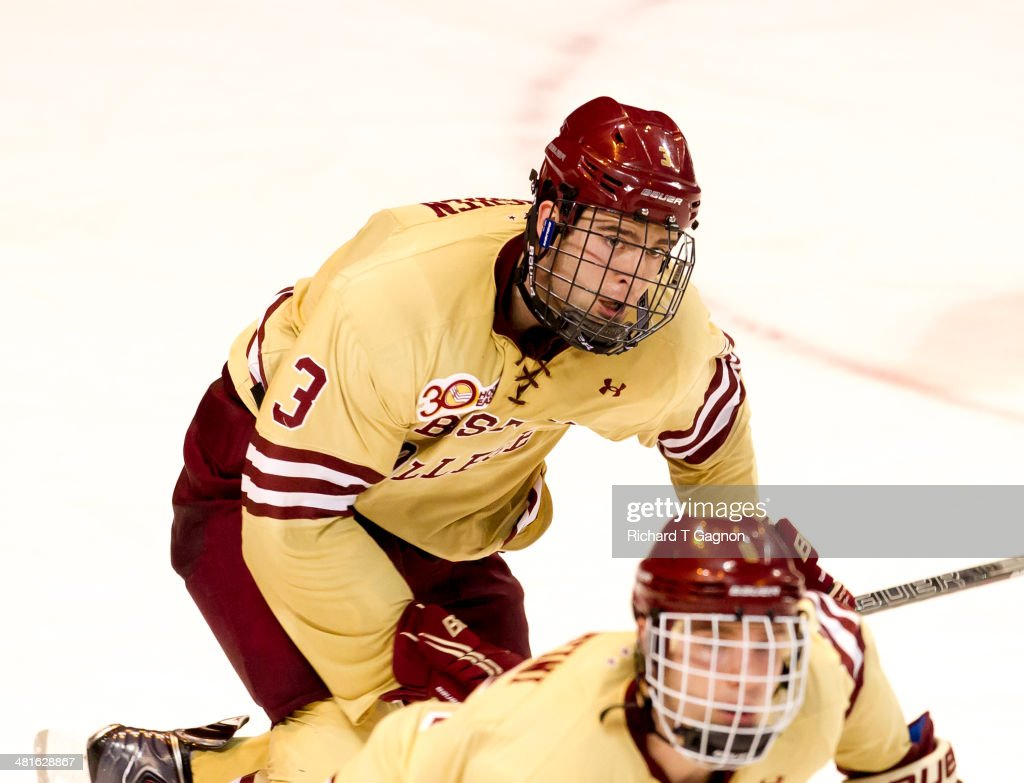 <a gi-track='captionPersonalityLinkClicked' href=/galleries/search?phrase=Ian+McCoshen&family=editorial&specificpeople=8619218 ng-click='$event.stopPropagation()'>Ian McCoshen</a> #3 of the Boston College Eagles skates against the Massachusetts Lowell River Hawks before he scored the game winning goal giving the Eagles a 4-3 victory in the NCAA Division I Men's Ice Hockey Northeast Regional Championship Final at the DCU Center on March 30, 2014 in Worcester, Massachusetts.