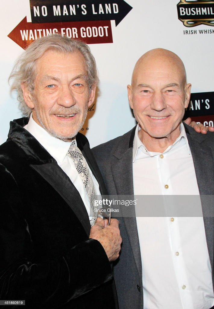 <a gi-track='captionPersonalityLinkClicked' href=/galleries/search?phrase=Ian+McKellen&family=editorial&specificpeople=202983 ng-click='$event.stopPropagation()'>Ian McKellen</a> and <a gi-track='captionPersonalityLinkClicked' href=/galleries/search?phrase=Patrick+Stewart&family=editorial&specificpeople=203271 ng-click='$event.stopPropagation()'>Patrick Stewart</a> pose at the 'No Man's Land' & 'Waiting For Godot' Opening Night after party at the Bryant Park Grill on November 24, 2013 in New York City.