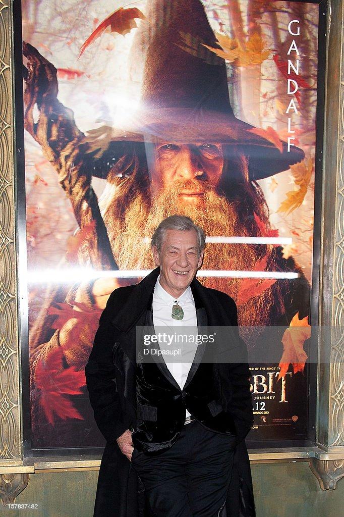 Ian McKellen attends 'The Hobbit: Unexpected Journey' premiere at the Ziegfeld Theater on December 6, 2012 in New York City.