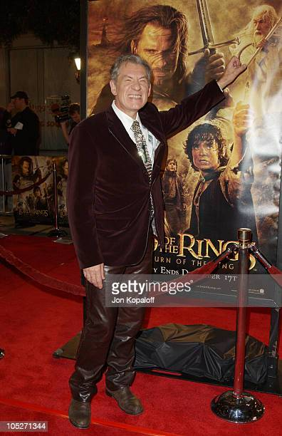 Ian McKellen during 'The Lord Of The Rings The Return Of The King' Los Angeles Premiere at The Mann Village Theatre in Westwood California United...