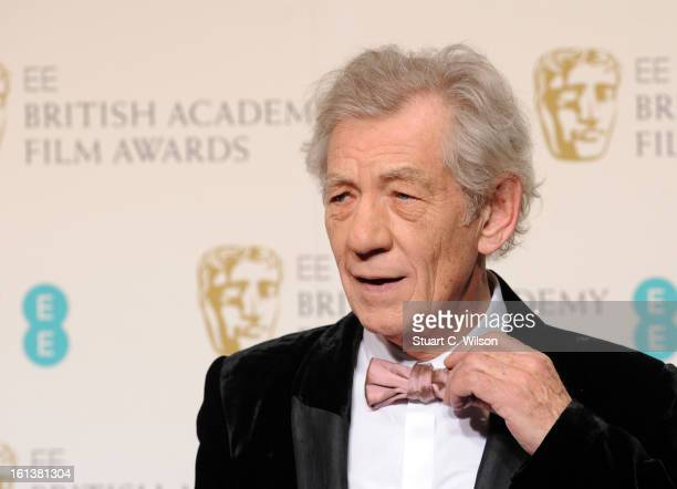 Ian McKellen poses in the press room at the EE British Academy Film Awards at The Royal Opera House on February 10 2013 in London England