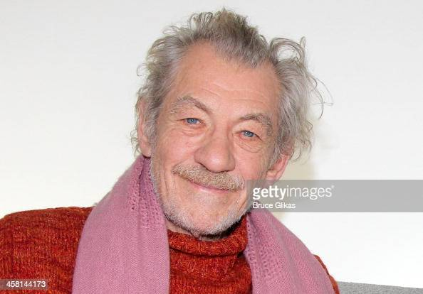 Ian McKellen promotes his plays 'Waiting for Godot' and 'No Man's Land' at The Broadwaycom Times Square Studios on December 19 2013 in New York City