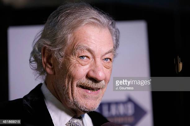 Ian McKellen speaks to the media at the 'No Man's Land' 'Waiting For Godot' Opening Night after party at the Bryant Park Grill on November 24 2013 in...