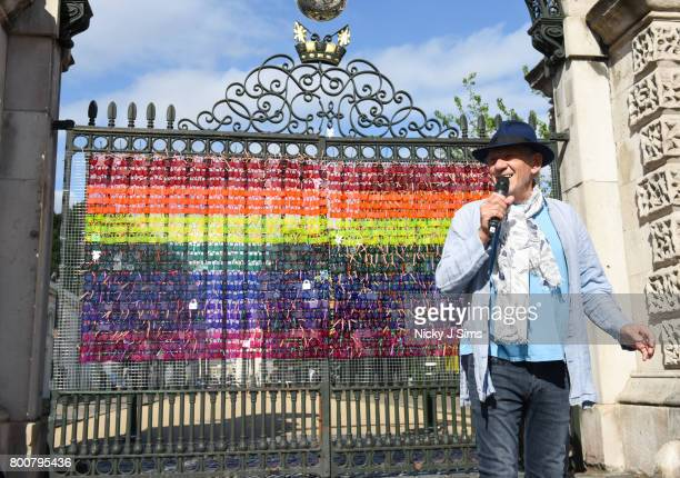 Ian McKellen unveils a rainbow coloured love locks display on West gates at the Old Royal Naval College on June 25 2017 in Greenwich EnglandThe Love...