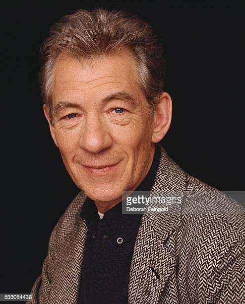 Ian McKellen Wearing a Herringbone Blazer