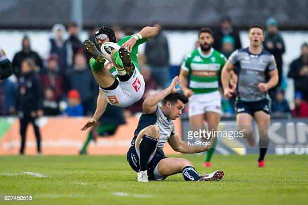 Ian McKinley of Benetton pictured with Cian Kelleher of Connacht during the Guinness PRO12 Round 10 match between Connacht Rugby and Benetton Treviso...