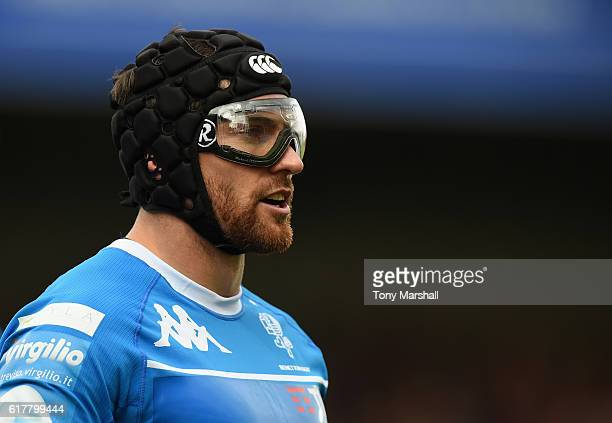 Ian McKinley of Benetton Treviso wearing his protective eyewear during the European Rugby Challenge Cup match between Gloucester Rugby and Benetton...