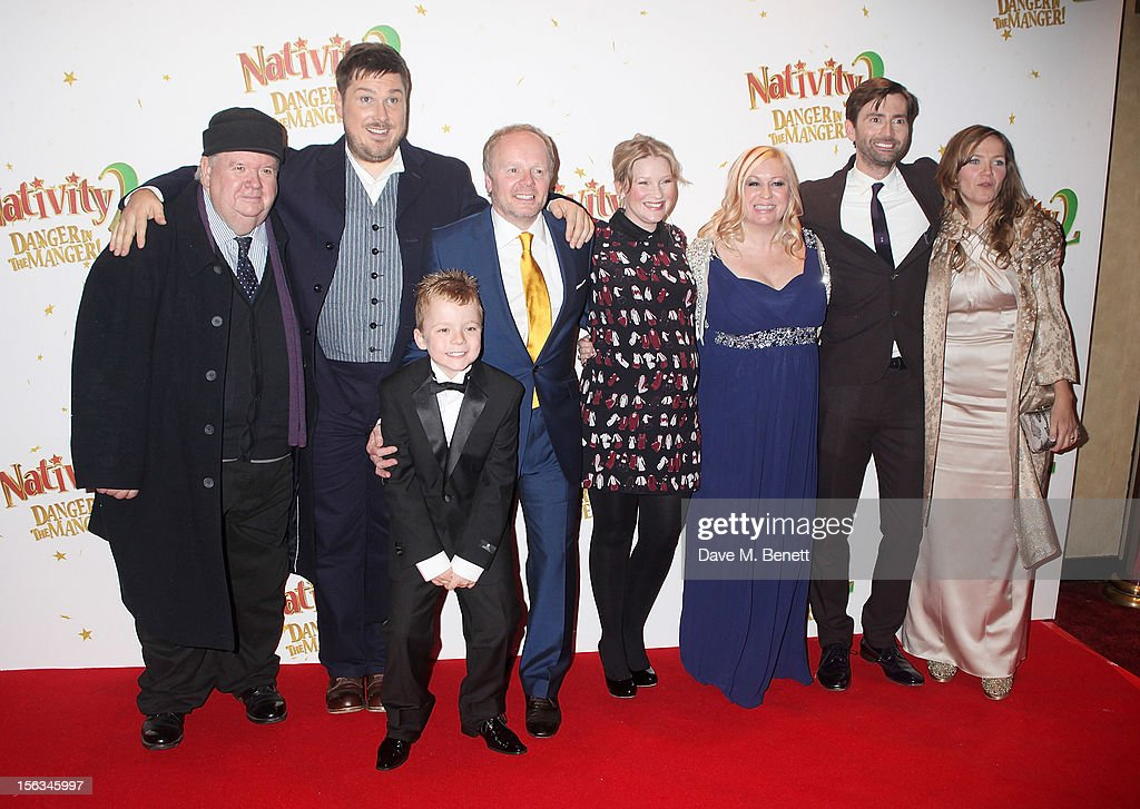 Ian McNeice, <a gi-track='captionPersonalityLinkClicked' href=/galleries/search?phrase=Marc+Wootton&family=editorial&specificpeople=218191 ng-click='$event.stopPropagation()'>Marc Wootton</a>, Ben Wilby, Jason Watkins, Joanna Page, Debbie Isitt, <a gi-track='captionPersonalityLinkClicked' href=/galleries/search?phrase=David+Tennant&family=editorial&specificpeople=220227 ng-click='$event.stopPropagation()'>David Tennant</a> and Jessica Hynes attend the 'Nativity 2: Danger In The Manger' premiere at Empire Leicester Square on November 13, 2012 in London, England.