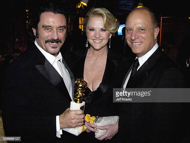 Ian McShane Gwen Humble and Chris Albrecht during HBO Golden Globe Awards Party Inside at Beverly Hills Hilton in Beverly Hills California United...