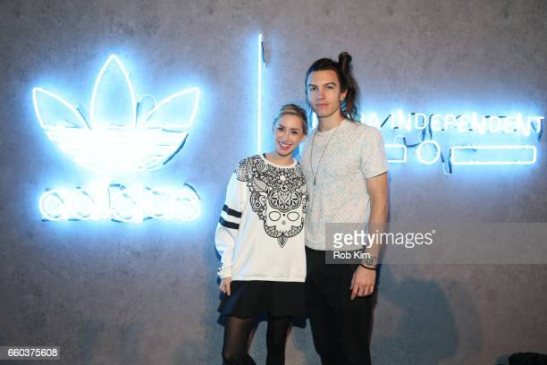 Ian Mellencamp and Jazmin Grimaldi attend the Italia Independent x adidas Originals Limited Edition 70's Inspired Collection Launch Event at Pioneer...