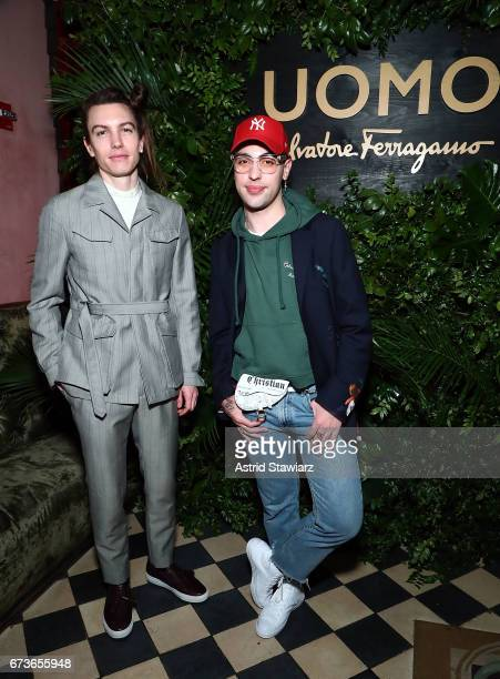 Ian Mellencamp and Matthew Mazur attend UOMO Salvatore Ferragamo celebration at Rose Bar at Gramercy Park Hotel on April 26 2017 in New York City