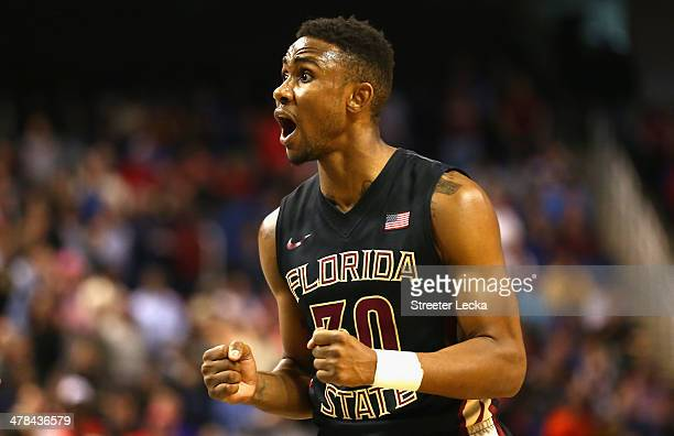 Ian Miller of the Florida State Seminoles reacts after a play against the Maryland Terrapins during the second round of the 2014 Men's ACC Basketball...