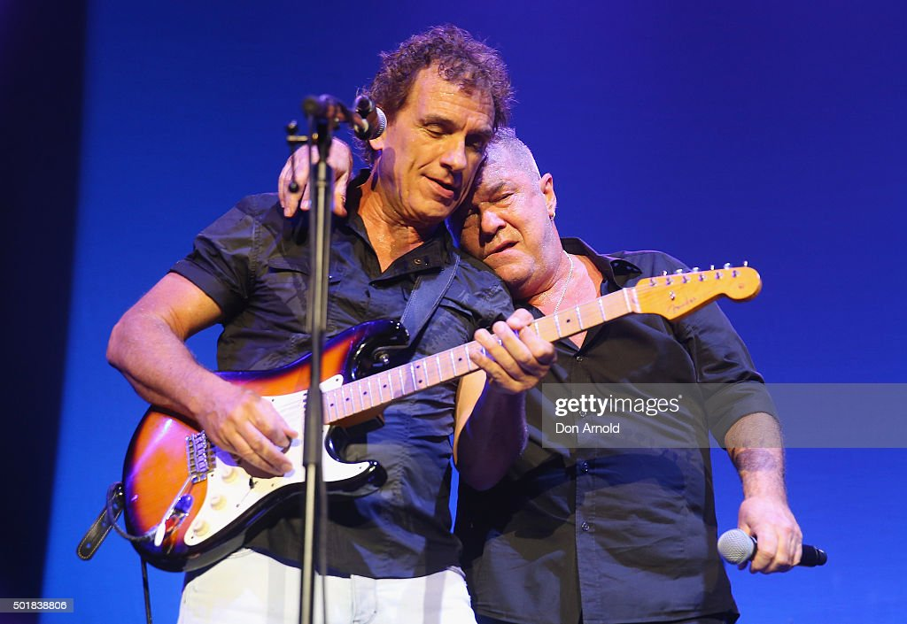 Ian Moss and Jimmy Barnes of Cold Chisel perform at Qantas Credit Union Arena on December 18 2015 in Sydney Australia