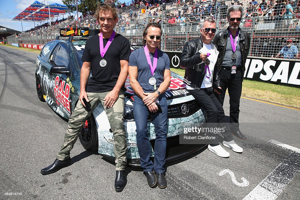 Ian Moss Phil Small Jimmy Barnes and Don Walker of Cold Chisel pose for the media as the band is inducted into the AMC South Australian Music Hall of...