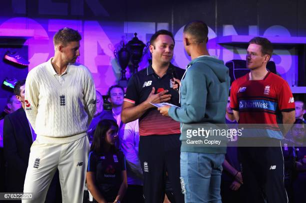 Ian Nairn of England talks with TV presenter and Radio DJ Marvin Humes with Joe Root England Test captain and Eoin Morgan England One day and...