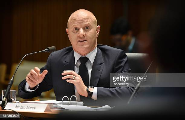 Ian Narev chief executive officer of Commonwealth Bank of Australia speaks during a hearing before the House of Representatives Standing Committee on...