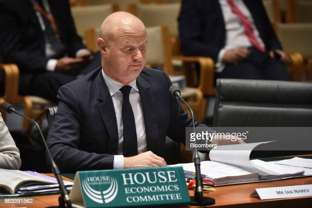 Ian Narev chief executive officer of Commonwealth Bank of Australia reacts during a hearing before the House of Representatives Standing Committee on...