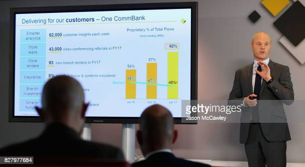 Ian Narev chief executive officer of the Commonwealth Bank of Australia speaks following the bank's full year results on August 9 2017 in Sydney...