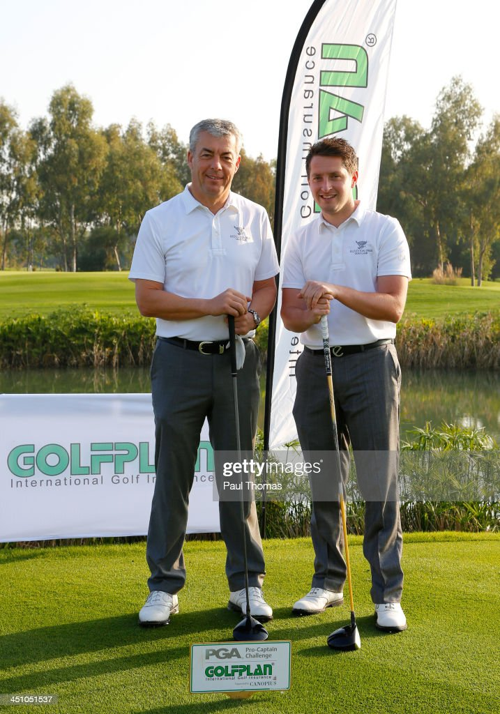Ian Neal and Ian Walley (R) of Kedleston Park Golf Club pose for a photograph on the PGA Sultan Course during day one of The Golfplan Insurance Pro Captain Challenge final at Antalya Golf Club on November 21, 2013 in Antalya, Turkey.