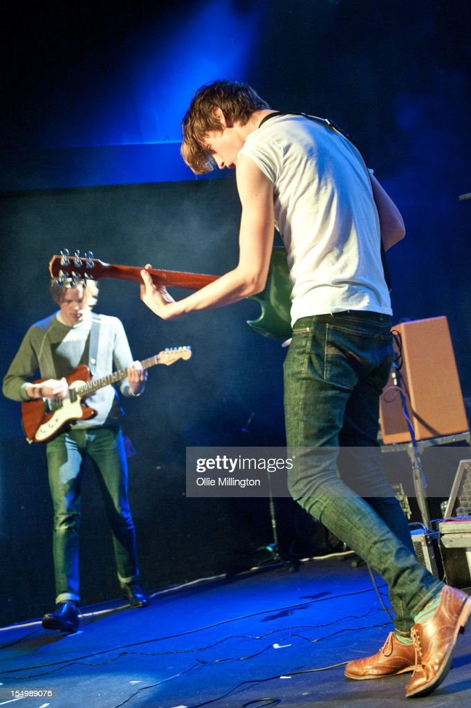 Ian Nygaard and Jordan Gatesmith of Howler performs on stage during a date of the NME Magazine New Generation tour at Rescue Rooms on October 29, 2012 in Nottingham, United Kingdom.