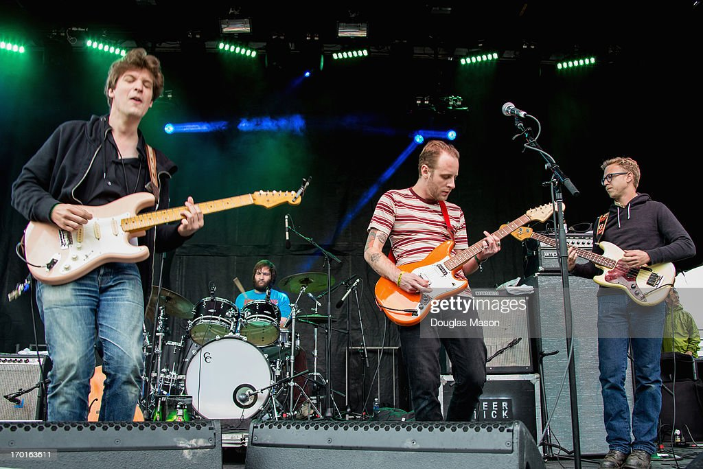 Ian O'Neil (guitar) Dennis Ryan (drums) John McCauley (guitar - vocals) Christopher Ryan (bass) Deer Tick performs during the 9th Annual Mountain Jam at Hunter Mountain on June 7, 2013 in Hunter, New York.