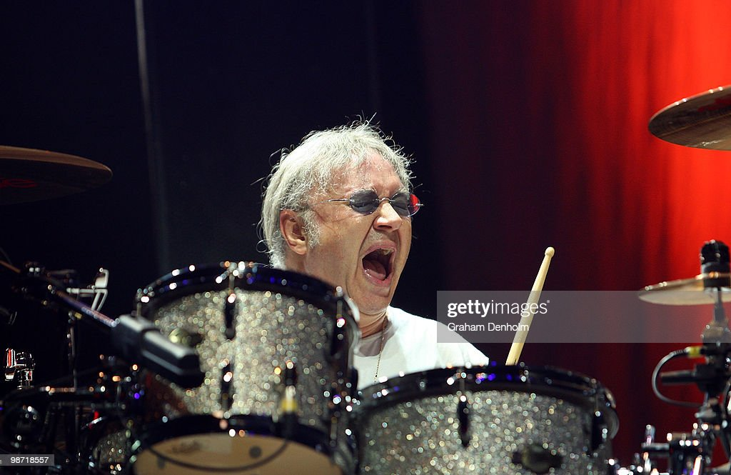 Ian Paice of Deep Purple performs on stage during their concert at the Sydney Entertainment Centre on April 28, 2010 in Sydney, Australia.