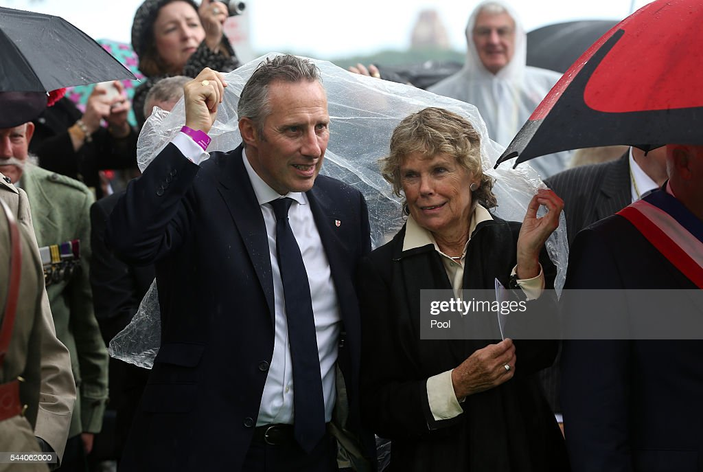 Ian Paisley Jr and Kate Hoey shelter from the rain at the Ulster Memorial Tower during a service to mark the 100th anniversary of the start of the battle of the Somme on July 1, 2016 in Thiepval, France. The event is part of the Commemoration of the Centenary of the Battle of the Somme at the Commonwealth War Graves Commission Thiepval Memorial in Thiepval, France, where 70,000 British and Commonwealth soldiers with no known grave are commemorated.