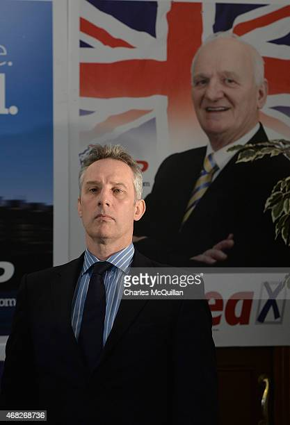 Ian Paisley Jr attends a DUP press conference on April 1 2015 in Antrim Northern Ireland Many political commentators predict that the DUP could hold...