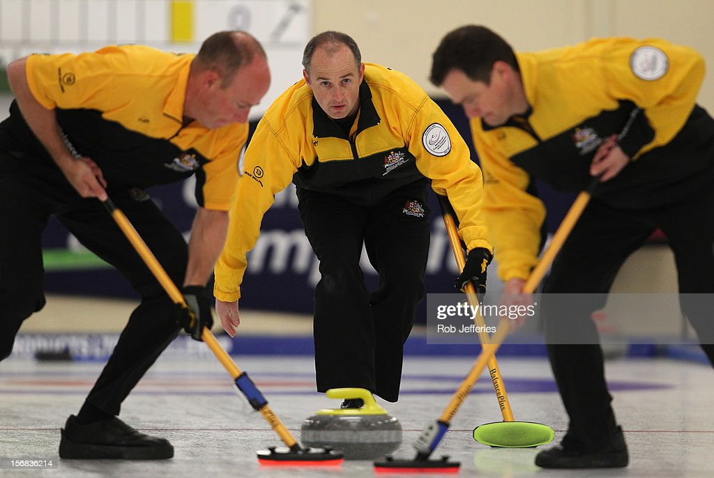Ian Palangio of Australia watches his stone during the Pacific Asia 2012 Curling Championship at the Naseby Indoor Curling Arena on November 23, 2012 in Naseby, New Zealand.